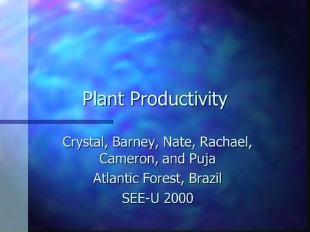 Plant Productivity Crystal, Barney, Nate, Rachael, Cameron, and Puja Atlantic Forest, Brazil SEE-U 2000.