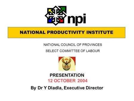 NATIONAL PRODUCTIVITY INSTITUTE PRESENTATION 12 OCTOBER 2004 By Dr Y Dladla, Executive Director NATIONAL COUNCIL OF PROVINCES SELECT COMMITTEE OF LABOUR.