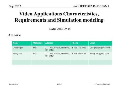 Doc.: IEEE 802.11-13/1032r1 Submission Sept 2013 Guoqing Li (Intel)Slide 1 Video Applications Characteristics, Requirements and Simulation modeling Date: