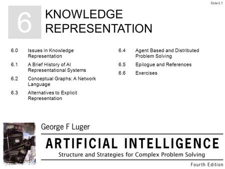 KNOWLEDGE REPRESENTATION 6 6.0Issues in Knowledge Representation 6.1A Brief History of AI Representational Systems 6.2Conceptual Graphs: A Network Language.