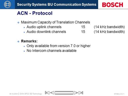Security Systems BU Communication Systems ST/SEU-CO 1 DCN SPCC SD Technology 08.12.2004 ACN - Protocol  Maximum Capacity of Translation Channels Audio.