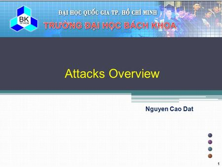 Attacks Overview Nguyen Cao Dat 1. BK TP.HCM Outline  Cryptographic Attacks ▫ Frequency analysis ▫ Brute force attack ▫ Meet-in-the-middle attack ▫ Birthday.