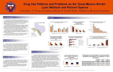 Drug Use Patterns and Problems on the Texas-Mexico Border Lynn Wallisch and Richard Spence University of Texas at Austin, School of Social Work, Addiction.