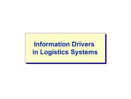 Information Drivers in Logistics Systems. LOGISTICS SYSTEMS Important Issues: Complex relationships between agents at different levels Cooperation A variety.