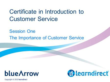 Certificate in Introduction to Customer Service Session One The Importance of Customer Service.
