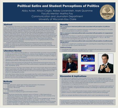 Political Satire and Student Perceptions of Politics Abby Acker, Allison Cegla, Abbey Lowenstein, Mark Quamme Faculty Mentor: Martha Fay Communication.