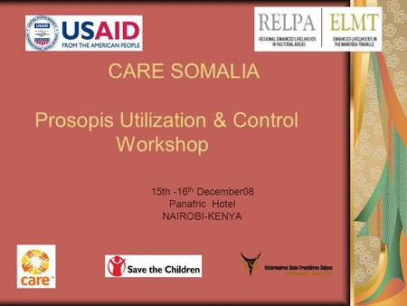 CARE SOMALIA Prosopis Utilization & Control Workshop 15th -16 th December08 Panafric Hotel NAIROBI-KENYA.