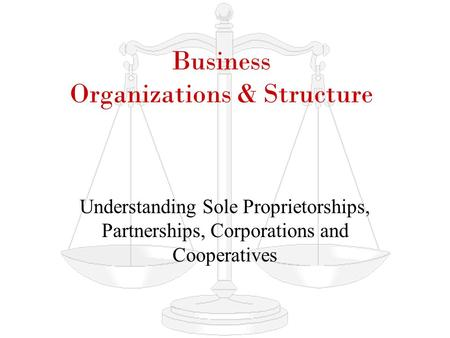 Business Organizations & Structure Understanding Sole Proprietorships, Partnerships, Corporations and Cooperatives.