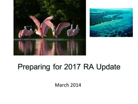 Preparing for 2017 RA Update March 2014. 2017 Tampa Bay Reasonable Assurance Update Annual assessment of water quality and attainment status of chl-a.