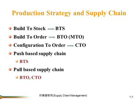 Production Strategy and Supply Chain