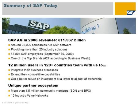 © SAP AG 2009. All rights reserved. / Page 1 Summary of SAP Today SAP AG in 2008 revenues: €11.567 billion Around 92,000 companies run SAP software Providing.