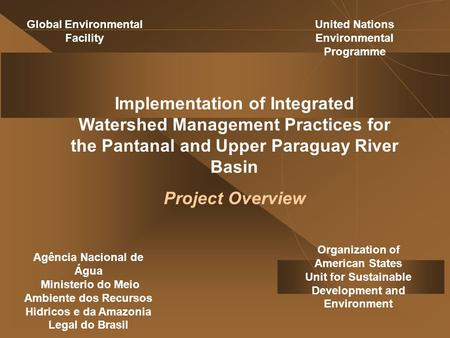 Implementation of Integrated Watershed Management Practices for the Pantanal and Upper Paraguay River Basin Project Overview Organization of American States.