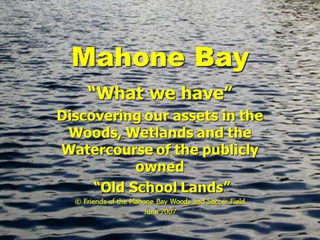 "Mahone Bay ""What we have"" Discovering our assets in the Woods, Wetlands and the Watercourse of the publicly owned ""Old School Lands"" ""Old School Lands"""