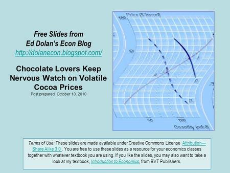 Free Slides from Ed Dolan's Econ Blog  Chocolate Lovers Keep Nervous Watch on Volatile Cocoa Prices Post prepared October.
