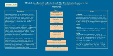Effect of Cycloheximide on Extinction of Odor Discrimination Learning in Rats Alexandra Knoppel, Katherine Janson, Sonnett White, and Gretchen Hanson Gotthard.