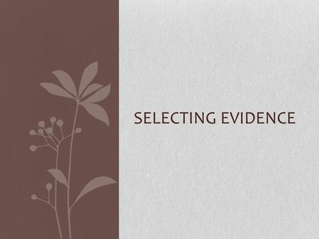 SELECTING EVIDENCE. Effective evidence Choose information that you understand and can explain clearly Choose ideas that are directly relating to the point.