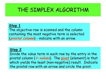 THE SIMPLEX ALGORITHM Step 1 The objective row is scanned and the column containing the most negative term is selected (pivotal column) - indicate with.