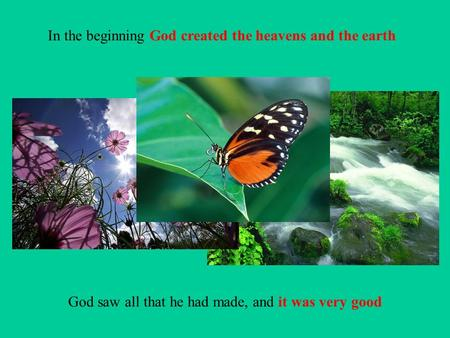 In the beginning God created the heavens and the earth God saw all that he had made, and it was very good.