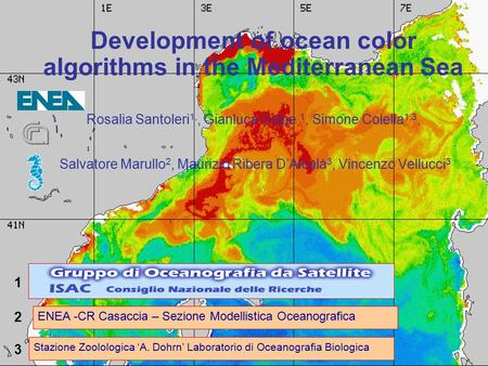 Development of ocean color algorithms in the Mediterranean Sea Rosalia Santoleri 1,, Gianluca Volpe 1, Simone Colella 1,3, Salvatore Marullo 2, Maurizio.