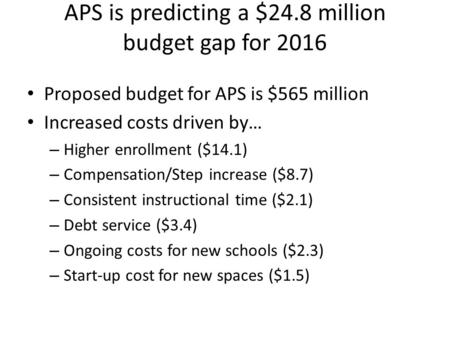 APS is predicting a $24.8 million budget gap for 2016 Proposed budget for APS is $565 million Increased costs driven by… – Higher enrollment ($14.1) –