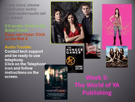 Week 5: The World of YA Publishing Every class, please check your audio: Tools>audio>audio set up wizard If it works: Click on the Green Check If you can't.