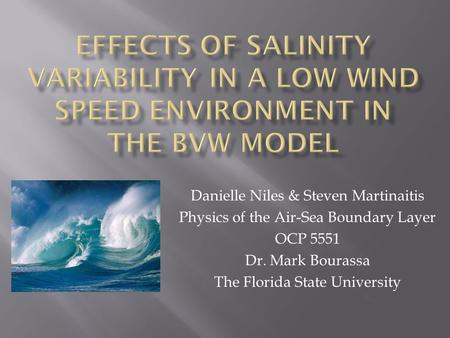Danielle Niles & Steven Martinaitis Physics of the Air-Sea Boundary Layer OCP 5551 Dr. Mark Bourassa The Florida State University.