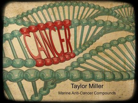 Taylor Miller Marine Anti-Cancer Compounds. What's the deal?