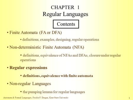 CHAPTER 1 Regular Languages