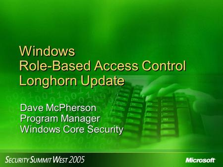Windows Role-Based Access Control Longhorn Update