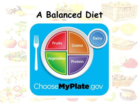 A Balanced Diet. Objectives: State what is meant by balanced diet Describe a balanced diet Describe the effects of malnutrition in relation to starvation,