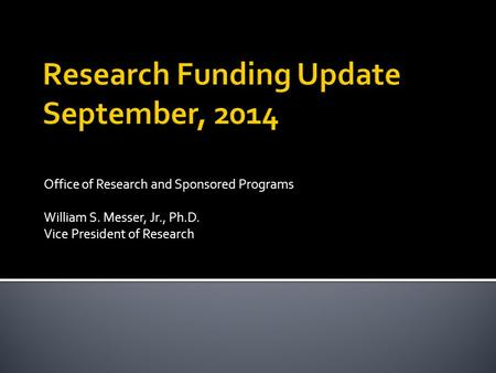 Office of Research and Sponsored Programs William S. Messer, Jr., Ph.D. Vice President of Research.