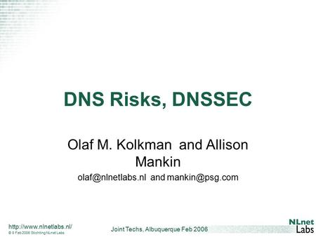 Joint Techs, Albuquerque Feb 2006  © 8 Feb 2006 Stichting NLnet Labs DNS Risks, DNSSEC Olaf M. Kolkman and Allison Mankin