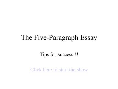 An Essay On Success