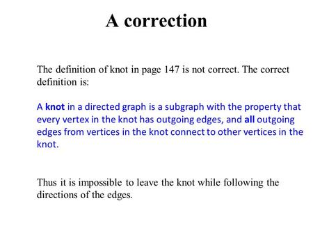 A correction The definition of knot in page 147 is not correct. The correct definition is: A knot in a directed graph is a subgraph with the property that.