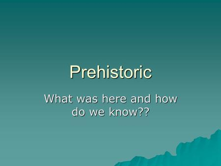 "Prehistoric What was here and how do we know??. Prehistoric Times  ""prehistoric"" refers to the time period before written word.  There was time when."