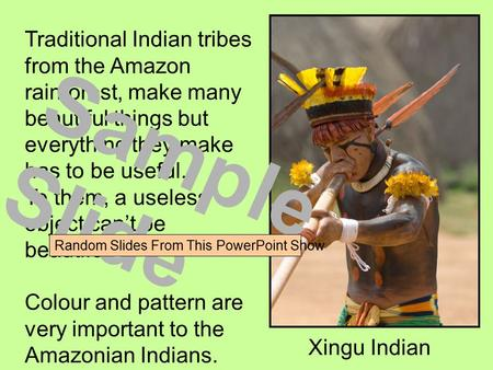 Traditional Indian tribes from the Amazon rainforest, make many beautiful things but everything they make has to be useful. To them, a useless object can't.