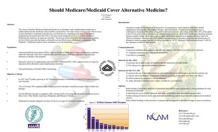Should Medicare/Medicaid Cover Alternative Medicine? Abstract The issue of whether Medicare/Medicaid should cover alternative and complimentary medicines.