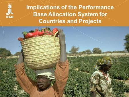 Farmers' organizations, policies and markets Implications of the Performance Base Allocation System for Countries and Projects.