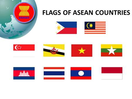 FLAGS OF ASEAN COUNTRIES SET 1 Match the flags with the right ASEAN countries. To win the game, you must get all of the correct pairs.