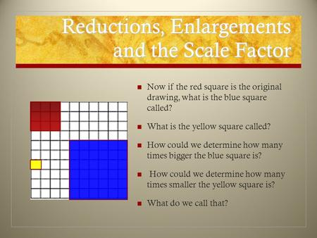 Reductions, Enlargements and the Scale Factor Now if the red square is the original drawing, what is the blue square called? What is the yellow square.
