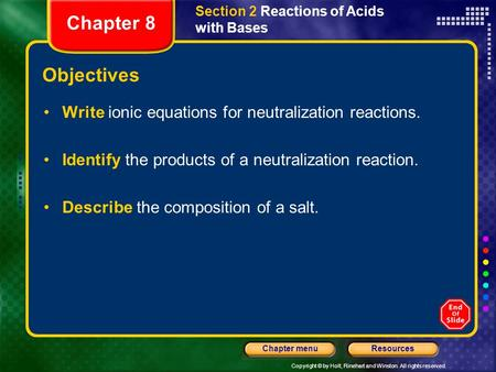 Copyright © by Holt, Rinehart and Winston. All rights reserved. ResourcesChapter menu Section 2 Reactions of Acids with Bases Objectives Write ionic equations.
