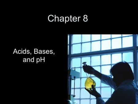 "Chapter 8 Acids, Bases, and pH. The pH scale pH scale is labeled 0-14 7 = neutral 0-7 = acids, 7-14 = bases ""weak"", closer to 7 ""strong"", closer to 0."