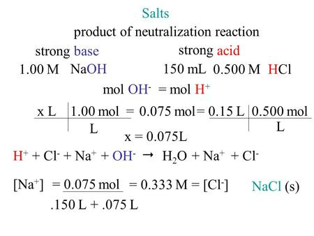 Salts product of neutralization reaction 1.00 M NaOH mol OH - L 0.075 mol1.00 mol L x L x = 0.075L H+H+ + Cl - + Na + + OH -  H2OH2O+ Na + + Cl - NaCl.