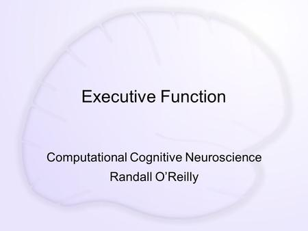 Executive Function Computational Cognitive Neuroscience Randall O'Reilly.