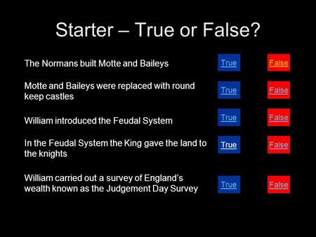 Starter – True or False? The Normans built Motte and Baileys Motte and Baileys were replaced with round keep castles William introduced the Feudal System.
