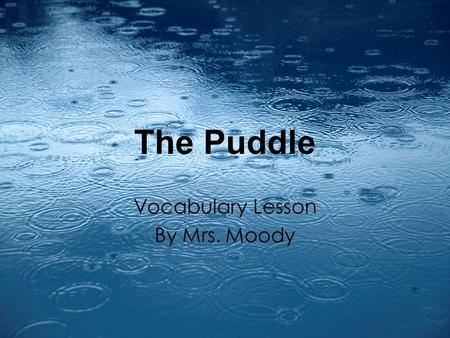 The Puddle Vocabulary Lesson By Mrs. Moody. ELA 1R5 The student acquires and uses grade-level words to communicate effectively. The student a. Reads and.