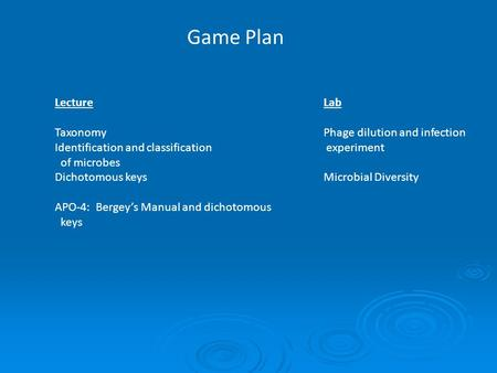 Game Plan Lecture Taxonomy Identification and classification of microbes Dichotomous keys APO-4: Bergey's Manual and dichotomous keys Lab Phage dilution.