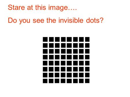 Stare at this image…. Do you see the invisible dots?