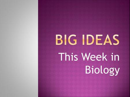 This Week in Biology.  All living things depend on each other to survive; nothing can survive alone.