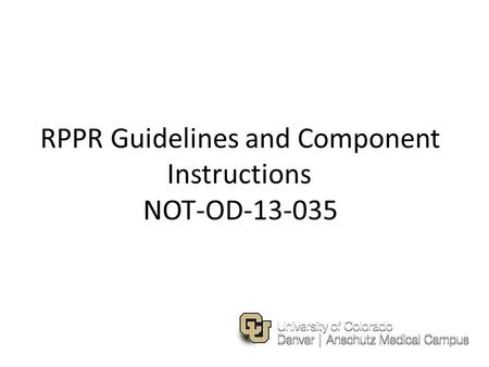 RPPR Guidelines and Component Instructions NOT-OD-13-035.